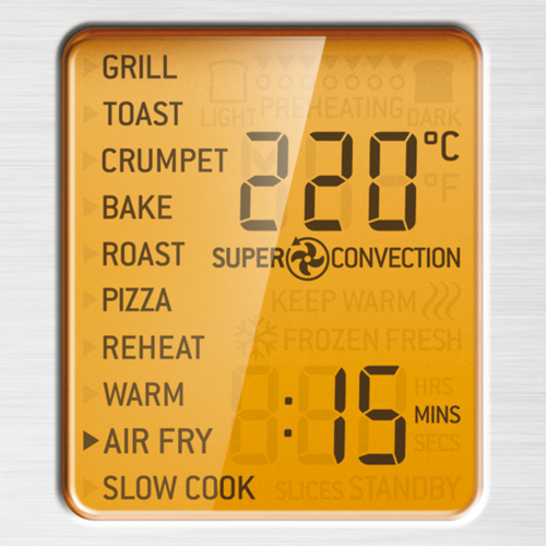 the smart oven air fry in brushed stainless steel lcd display