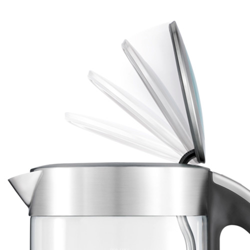the Crystal Clear in glass kettle with brushed stainless steel soft top lid