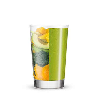 Smoothie vert orange-mangue