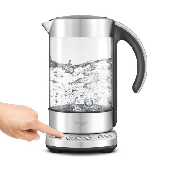 the Smart Kettle Clear in Brushed Stainless Steel with varietal settings
