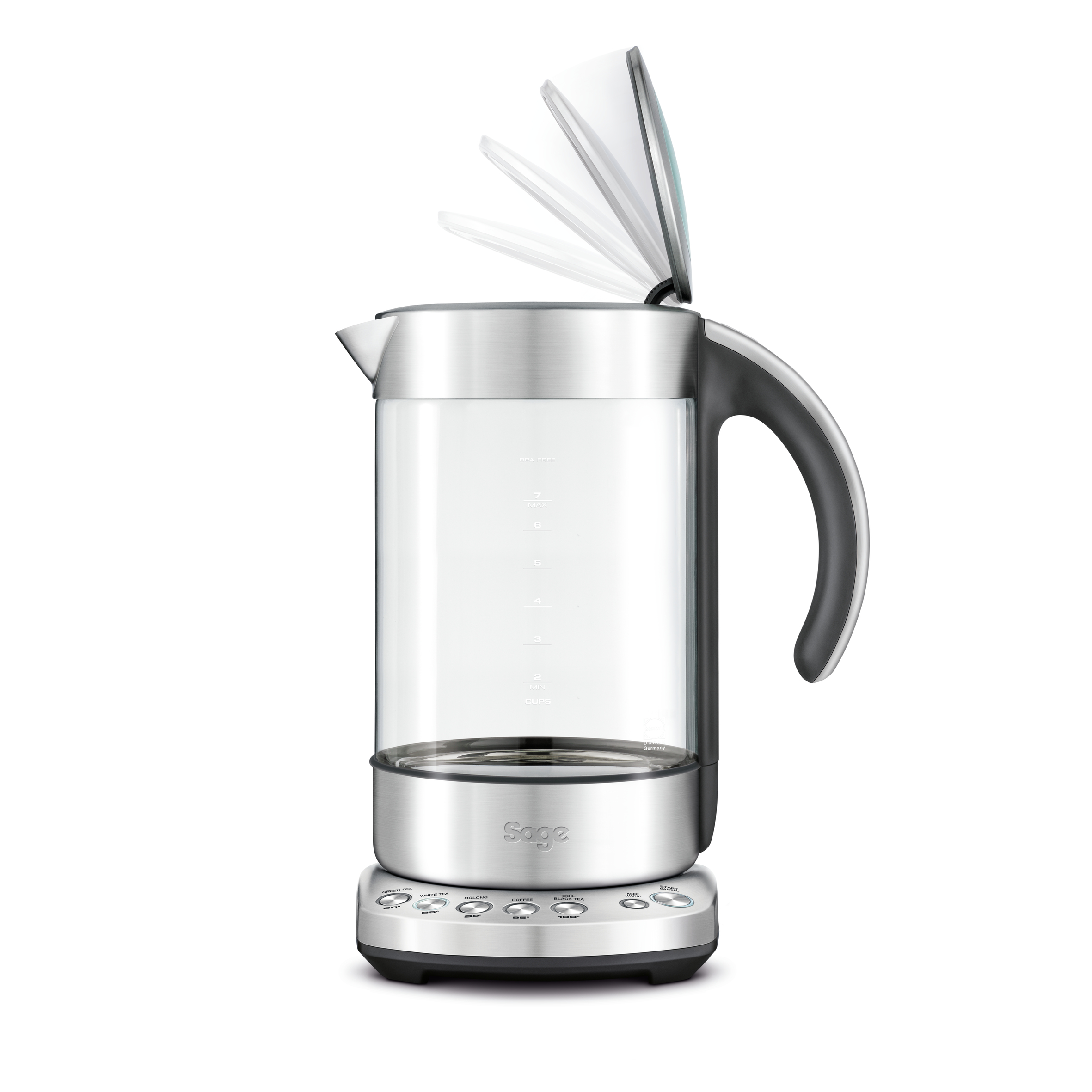 the Smart Kettle Clear in Brushed Stainless Steel with soft open lid