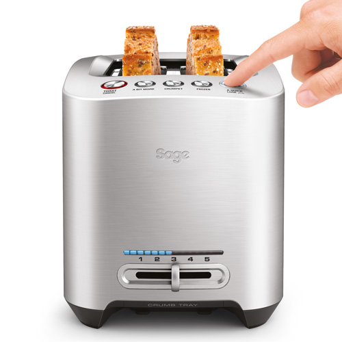 The Smart Toast™ 2-Slice Toaster Toasters in Silver 1-touch lowering