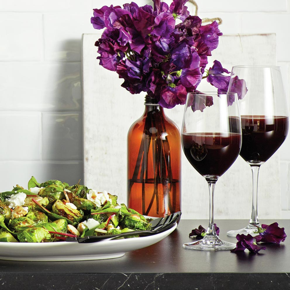 the Wave Range recipes - brussels sprouts with pomegranate vinaigrette and goat cheese