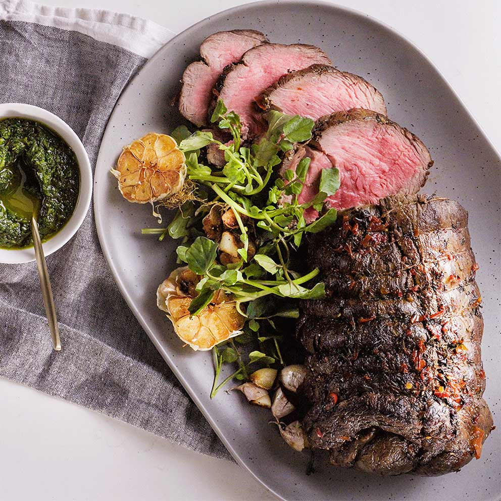 the Wave Range recipes - spice crusted beef with chimmichurri