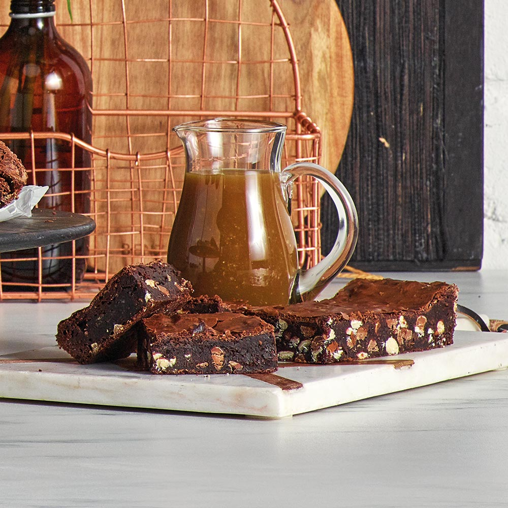 the Wave Range recipes - triple chocolate brownies with salted caramel sauce