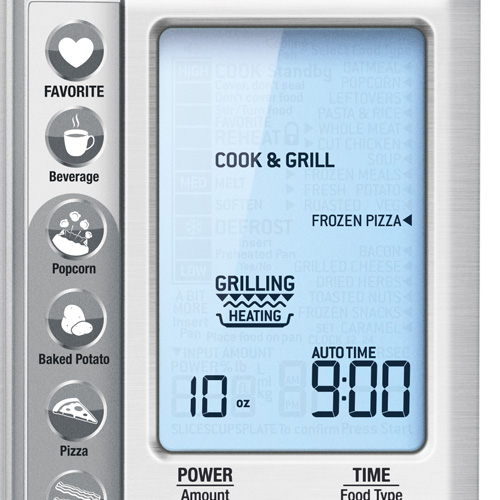 the Quick Touch™ Crisp Microwave in Brushed Stainless Steel shortcuts panel