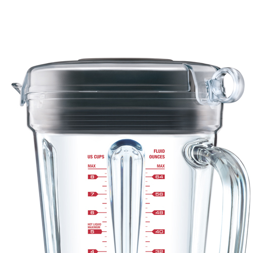 the Q™ Standmixer in Rauchiges Hickorybraun innovativer deckel mit zugring