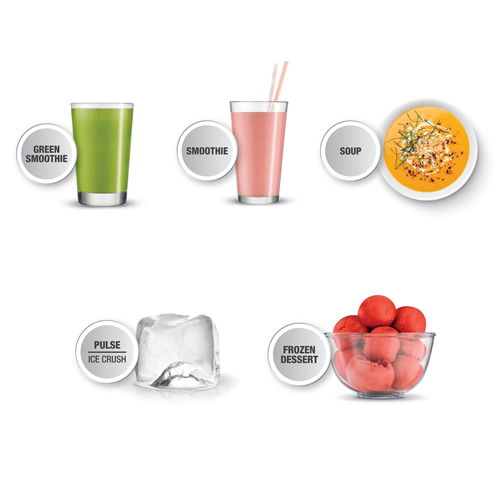 the Super Q™ Blender in Brushed Stainless Steel 5 one touch programms