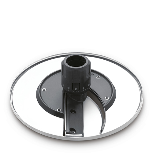 the Kitchen Wizz™ Peel & Dice Food Processor in Brushed Aluminium variable slicing disc