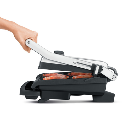 The AdjustaGrill™ Sandwich Maker in Brushed Stainless Steel ribbed plate design