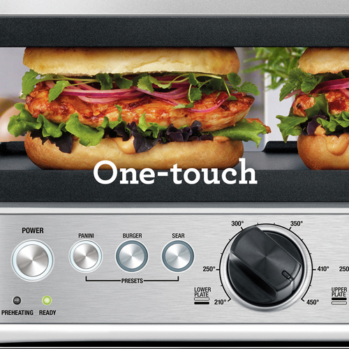 the BBQ & Press™ Grill Geborsteld roestvrij ONE-TOUCH-FUNCTIES