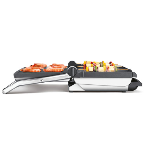 The BBQ Grill™ Grill in Brushed Stainless Steel floating hinged top plates