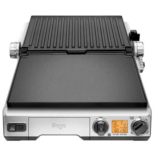the Smart Grill™ Pro Grills en tosti-apparaten in Geborsteld roestvrij staal open flat bbq-modus