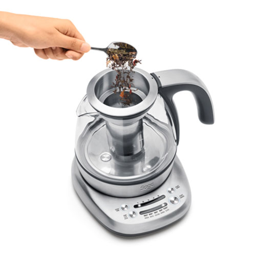 the Sage Smart Tea Infuser™ Compact Tea Maker in Glass kettle with brushed stainless steel base 5 presets to suit your tea