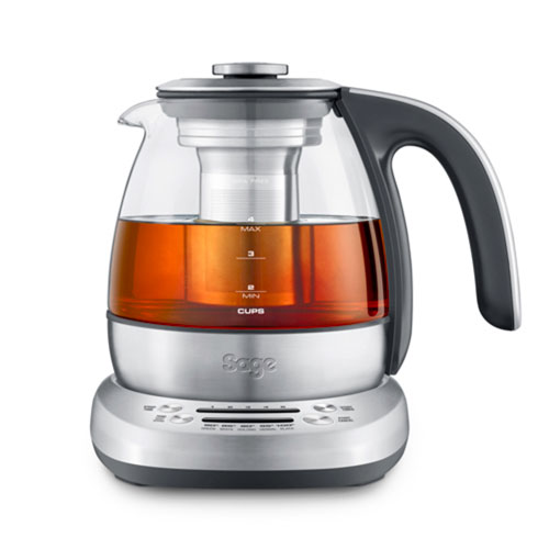 the Sage Smart Tea Infuser™ Compact Tea Maker in Glass kettle with brushed stainless steel base compact capacity