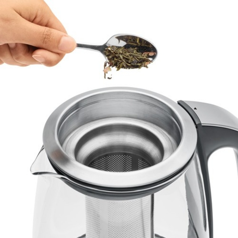 the Sage Smart Tea Infuser® Kettle & Tea in Brushed Stainless Steel with Glass Kettle 5 VOORINSTELLINGEN VOOR UW FAVORIETE THEE