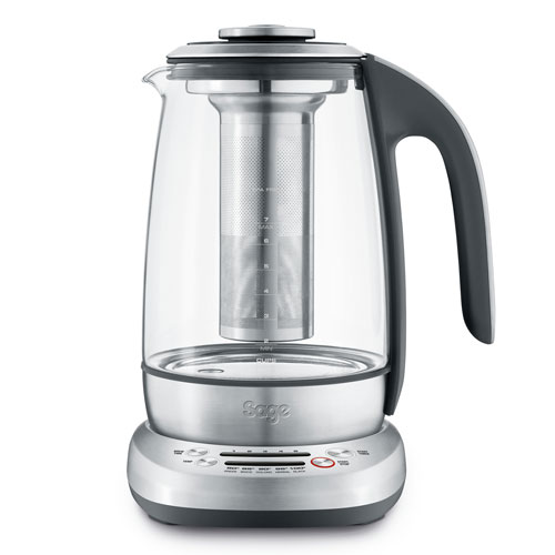 the Sage Smart Tea Infuser® Kettle & Tea in Brushed Stainless Steel with Glass Kettle WATERKOKER