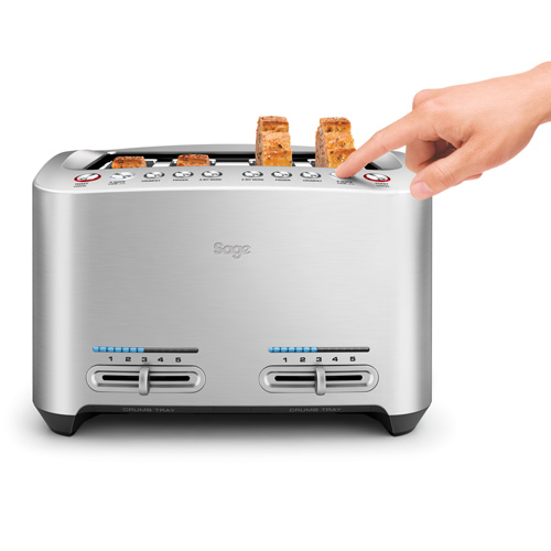 the Smart Toaster™ 4 tranches Grille-pains en Argent abaissement une touche