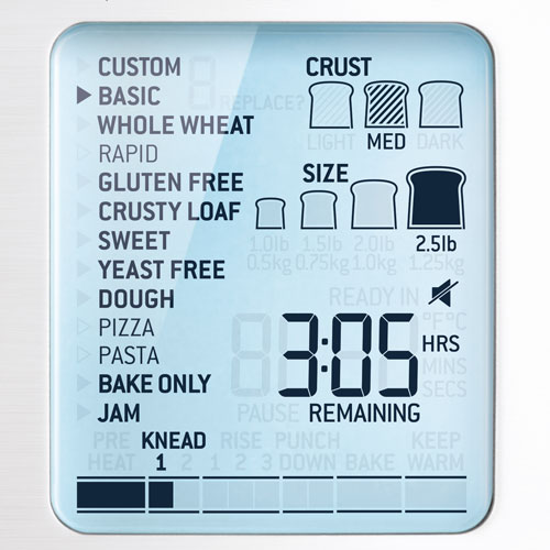 the Custom Loaf  Bread Maker in Brushed Stainless Steel Smart LCD Display