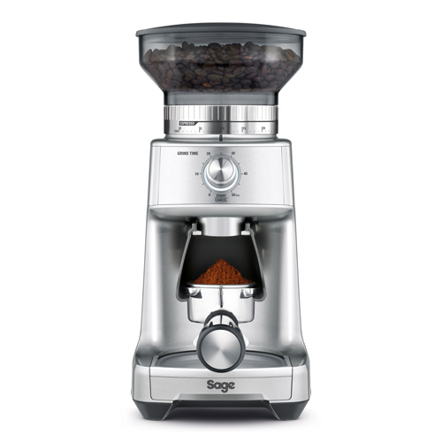 the Dose Control Pro Coffee Grinder in Silver precision electronic timer