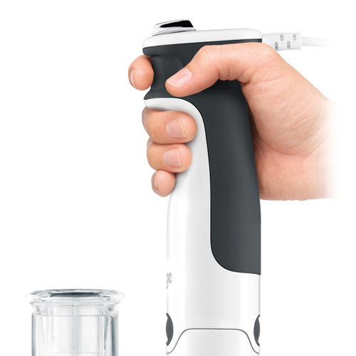 The Control Grip All in One™ Immersion Blender in Silver ergonomic trigger grip