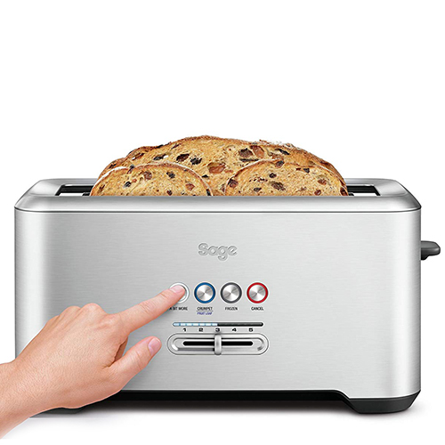 the Bit More Toaster® 4 Slice Toasters in Silver extra long 4-slice capacity