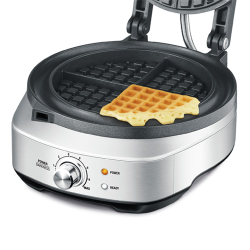 the No-Mess Waffle™ in Brushed Stainless Steel ready light