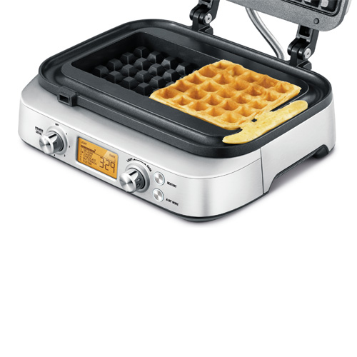 the Smart Waffle™ Pro Waffle Maker  in Stainless Steel no mess moat